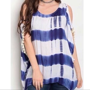Tops - Navy Tie Dye Cold Shoulder Tunic